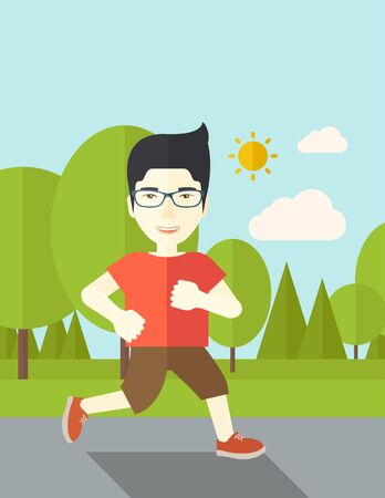 asian lifestyle: An asian man in glasses jogging in the park vector flat design illustration. Lifestyle concept. Vertical layout with a text space.