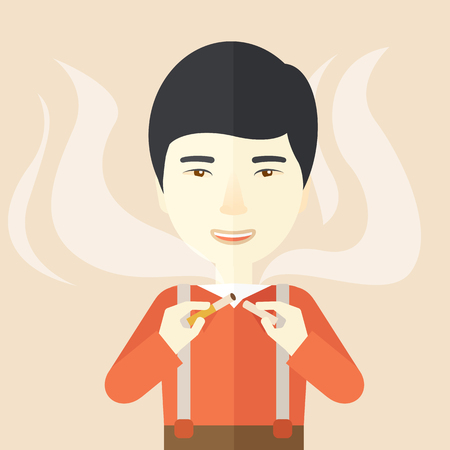 vices: An asian man breaking the cigarette vector flat design illustration. Square layout.