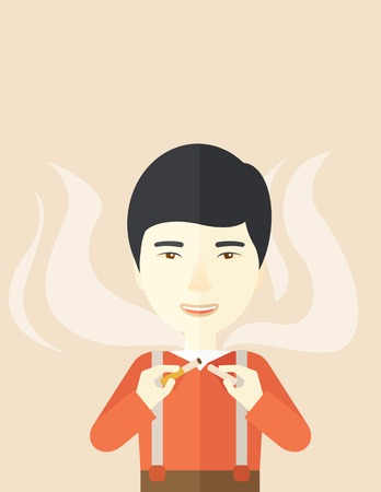 vices: An asian man breaking the cigarette vector flat design illustration. Vertical layout with a text space. Illustration