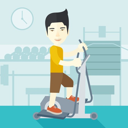 athlete cartoon: An asian man exercising on a elliptical machine in the gym vector flat design illustration. Square layout.