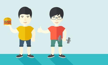 Hombre asiático gruesa de pie con la hamburguesa mientras que el hombre asiático delgada de pie con mancuernas ilustración vectorial diseño plano. concepto de estilo de vida. disposición horizontal con un espacio de texto.