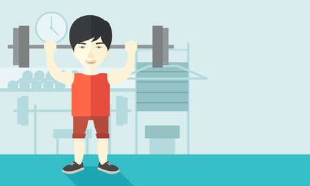 cartoon builder: An asian man lifting a barbell inside the gym vector flat design illustration. Sport concept. Horizontal layout with a text space.