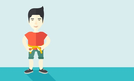 waist: A happy asian man measures his waist vector flat design illustration. Sport concept. Horizontal layout with a text space.