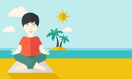 sitting meditation: An asian man meditating in lotus pose on the beach vector flat design illustration. Horizontal layout with a text space.