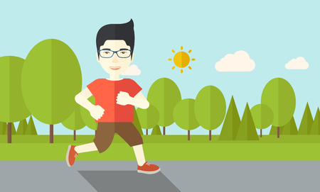 jogging in nature: An asian man in glasses jogging in the park vector flat design illustration. Lifestyle concept. Horizontal layout with a text space.