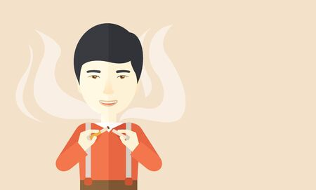 vices: An asian man breaking the cigarette vector flat design illustration. Horizontal layout with a text space.