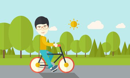 An asian man riding a bicycle in park vector flat design illustration. Sport concept. Horizontal layout with a text space.