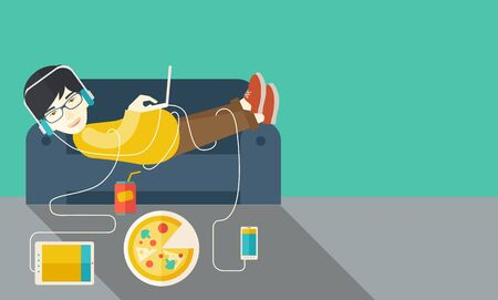 cartoon human: An asian man in glasses and headphones lying on a sofa with electronic devices and fast food vector flat design illustration. Horizontal layout with a text space.