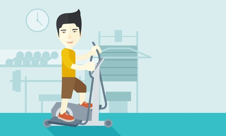 flywheel: An asian man exercising on a elliptical machine in the gym vector flat design illustration. Horizontal layout with a text space.