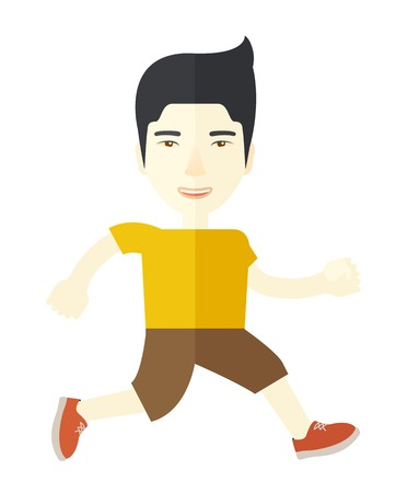 asian cartoon: An asian man jogging on street vector flat design illustration isolated on white background. Lifestyle concept. Vertical layout.