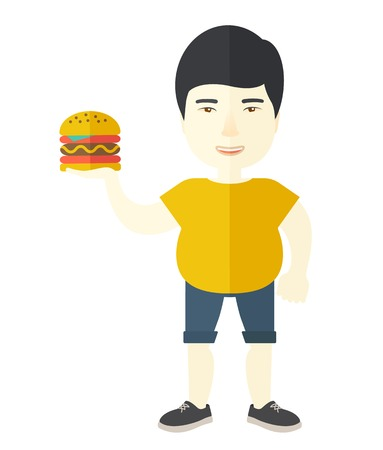 harmful: An asian man in sportswear holding hamburger vector flat design illustration isolated on white background. Vertical layout.