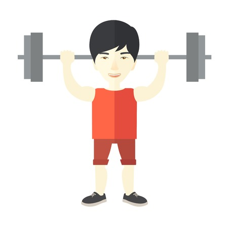 An asian man lifting a barbell vector flat design illustration isolated on white background. Sport concept. Square layout.