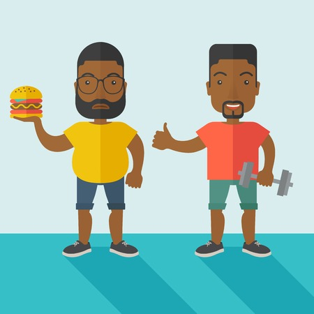 fat to thin: Thick african-american man with beard standing with hamburger while slim african-american man standing with dumbbell vector flat design illustration. Lifestyle concept. Square layout. Illustration