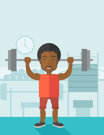 crossbar: An african-american man lifting a barbell inside the gym vector flat design illustration. Sport concept. Vertical layout with a text space.