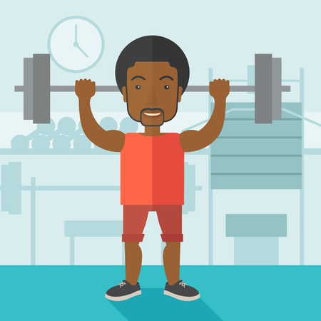 athlete cartoon: An african-american man lifting a barbell inside the gym vector flat design illustration. Sport concept. Square layout. Illustration