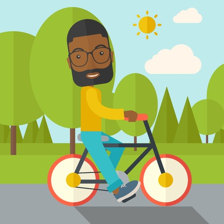 cartoon biker: An african-american man with beard riding a bicycle in park vector flat design illustration. Sport concept. Square layout.