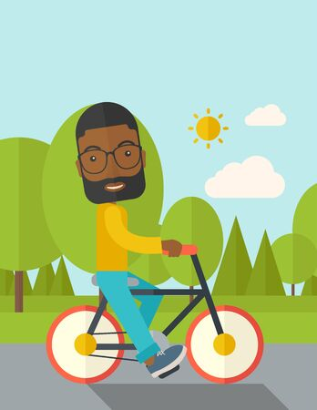 athlete cartoon: An african-american man with beard riding a bicycle in park vector flat design illustration. Sport concept. Vertical layout with a text space.