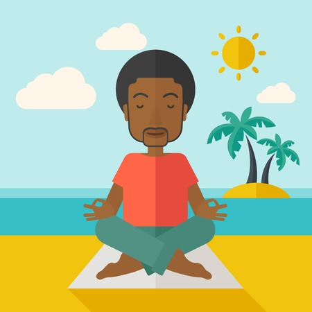 water sports: An african-american man meditating in lotus pose on the beach vector flat design illustration. Square layout.