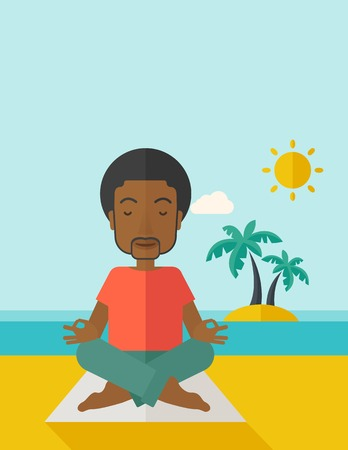 flexible: An african-american man meditating in lotus pose on the beach vector flat design illustration. Vertical layout with a text space. Illustration