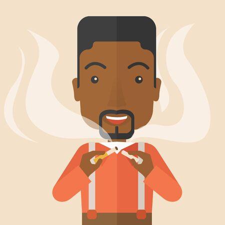 dangerous man: An african-american man breaking the cigarette vector flat design illustration. Square layout. Illustration