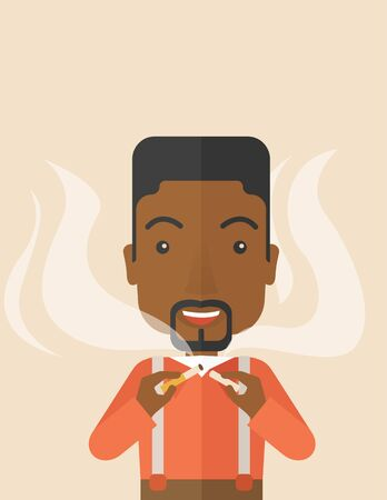 vices: An african-american man breaking the cigarette vector flat design illustration. Vertical layout with a text space. Illustration