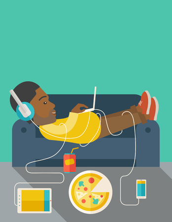 electronic devices: An african-american man in glasses and headphones lying on a sofa with electronic devices and fast food vector flat design illustration. Vertical layout with a text space.