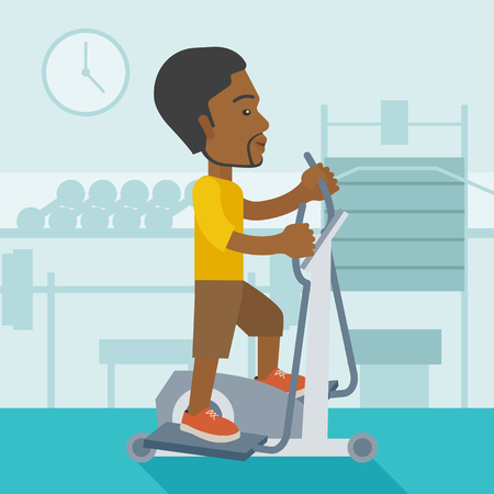 exercice: An african-american man exercising on a elliptical machine in the gym vector flat design illustration. Square layout. Illustration