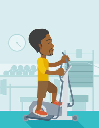crosstrainer: An african-american man exercising on a elliptical machine in the gym vector flat design illustration. Vertical layout with a text space.