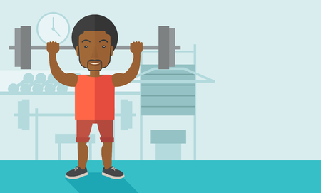 cartoon builder: An african-american man lifting a barbell inside the gym vector flat design illustration. Sport concept. Horizontal layout with a text space.