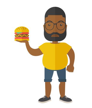 白い背景に分離されたハンバーガー ベクトル フラット設計図を保持しているスポーツ ウエアでひげを持つアフリカ系アメリカ人男。縦型レイアウ  イラスト・ベクター素材