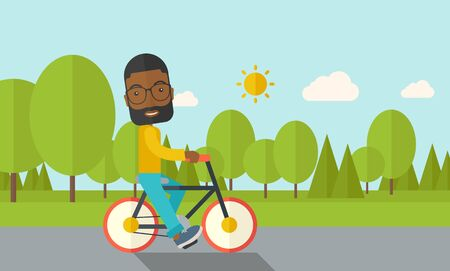 cartoon biker: An african-american man with beard riding a bicycle in park vector flat design illustration. Sport concept. Horizontal layout with a text space. Illustration