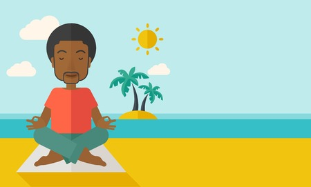 flexible: An african-american man meditating in lotus pose on the beach vector flat design illustration. Horizontal layout with a text space. Illustration