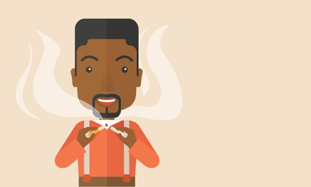 dangerous man: An african-american man breaking the cigarette vector flat design illustration. Horizontal layout with a text space.