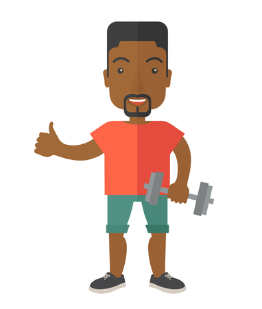 An african-american man standing with dumbbell vector flat design illustration isolated on white background. Lifestyle concept. Vertical layout.