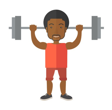 crossbar: An african-american man lifting a barbell vector flat design illustration isolated on white background. Sport concept. Square layout. Illustration