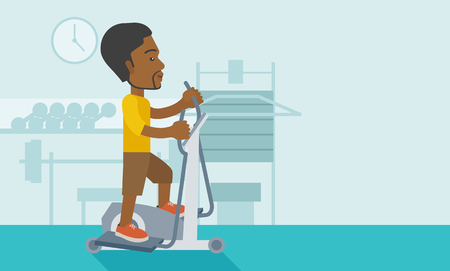 athlete cartoon: An african-american man exercising on a elliptical machine in the gym vector flat design illustration. Horizontal layout with a text space.