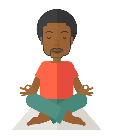 reflexion: An african-american man meditating in lotus pose vector flat design illustration isolated on white background. Vertical layout with a text space.