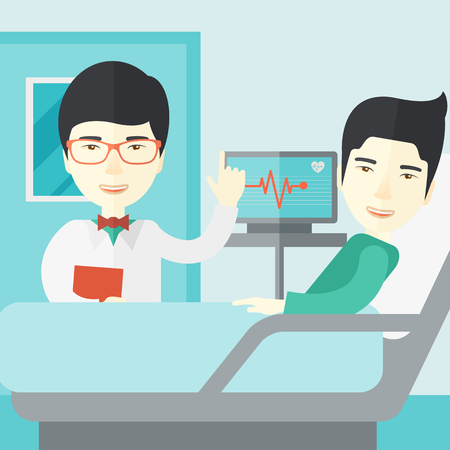 lying in bed: A smiling asian doctor visits a patient lying on hospital bed  vector flat design illustration. Square layout.