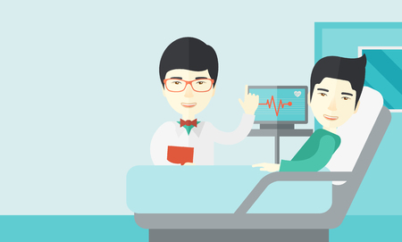 cartoon bed: A smiling asian doctor visits a patient lying on hospital bed  vector flat design illustration. Horizontal layout with a text space.