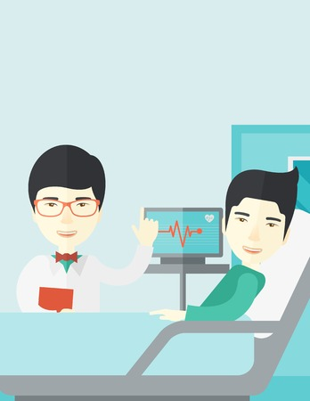 lying in bed: A smiling asian doctor visits a patient lying on hospital bed  vector flat design illustration. Vertical layout with a text space. Illustration