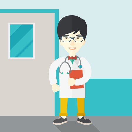 medico: A happy asian doctor in glasses standing and holding a notepad vector flat design illustration.  Square layout. Illustration