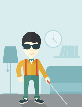 blind man: An asian blind man in dark glasses standing with walking stick inside the house vector flat design illustration. Vertical layout with a text space. Illustration