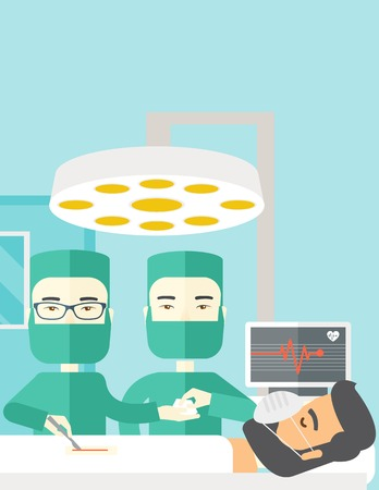 teamwork cartoon: Two asian surgeons working and looking over a lying patient in an operating room vector flat design illustration. Vertical layout with a text space. Illustration