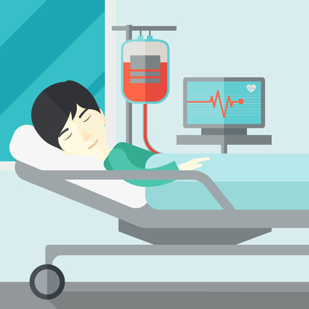 heart monitor: An asian patient lying in hospital bed with heart rate monitor and drop counetr vector flat design illustration. Square layout.