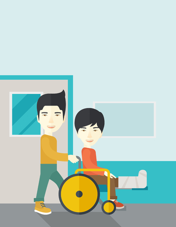 sprain: An asian man carrying a patient with broken leg in the wheelchair vector flat design illustration. Vertical layout with a text space.