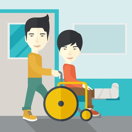 sprain: An asian man carrying a patient with broken leg in the wheelchair vector flat design illustration. Square layout.