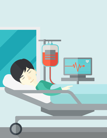 lying in bed: An asian patient lying in hospital bed with heart rate monitor and drop counetr vector flat design illustration. Vertical layout with a text space. Illustration