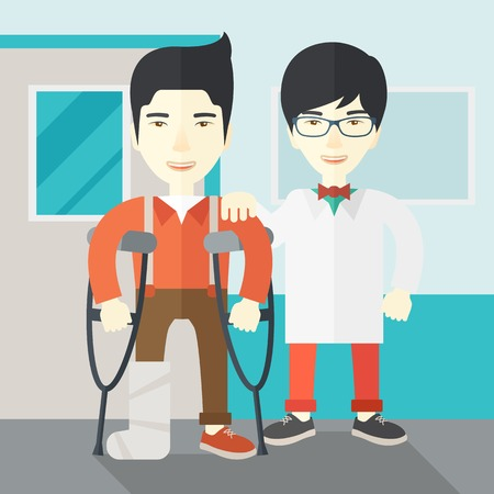 An injured asian man on crutches standing with a doctor vector flat design illustration. Square layout.
