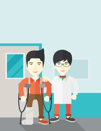 rehab: An injured asian man on crutches standing with a doctor vector flat design illustration. Vertical layout with a text space. Illustration