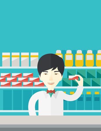 dispensary: An asian pharmacist at the counter in a pharmacy opposite the shelves with medicines vector flat design illustration. Vertical layout with a text space. Illustration
